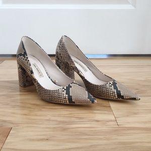 Zara Snakeskin Stacked Heels